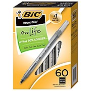 BIC Round Stic Ballpoint Pens, Medium Point, 1.0 mm, Translucent Barrel, Black Ink - Box Of 60 THUMBNAIL