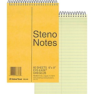 Rediform Wirebound Steno Notebook - 60 Sheets - Wire Bound Light Blue Margin - 16 - 1 Each MAIN