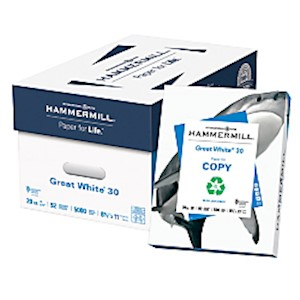 Hammermill Great White Copy Paper, Letter Size (8 1/2in x 11in), 20 Lb, 30% Recycled - Case Of 10 MAIN