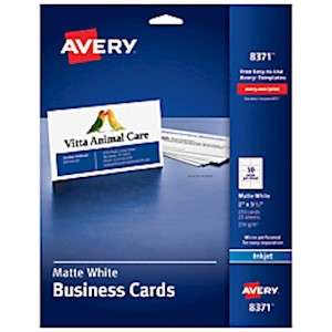 Avery Inkjet Microperforated Business Cards, 2in x 3 1/2in, Matte White, Pack Of MAIN