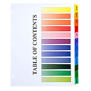 30% Recycled One-Step Index Sheets, Jan-Dec, Letter Size, Assorted Colors, Set Of - 1 Each MAIN