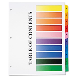 30% Recycled One-Step Index Sheets, 1-10, Letter Size, Assorted Colors, Set Of 10 - 1 Each MAIN