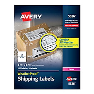 Avery WeatherProof Laser Mailing Labels With TrueBlock Technology, 5526, 5 1/2in - Pack Of 100 MAIN