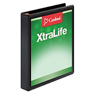 Cardinal XtraLife Locking Slant-D Ring Binder, 1in Rings, 55% Recycled, Black - 1 Each MAIN