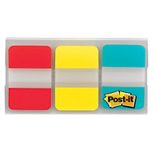 Post-it Notes Durable Filing Tabs, 1in x 1-1/2in, Blue/Red/Yellow, 22 Flags Per Pad - Pack Of 3 MAIN