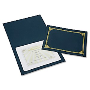 SKILCRAFT Certificate/Document Cover, 8 1/2in x 11in, 8in x 10in, A4, Blue/Gold - Pack Of 5 MAIN