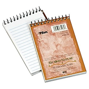 TOPS Second Nature 30% Recycled Top Opening Memo Book, 3in x 5in, 1 Subject, Narrow - 1 Each MAIN