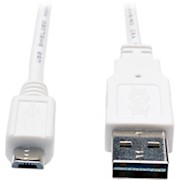 Tripp Lite 3ft USB 2.0 High Speed Cable Reversible A to 5Pin Micro B M/M White - - 1 Each THUMBNAIL