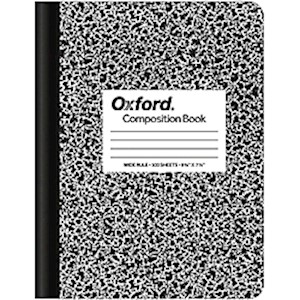 TOPS Composition Book, 7 1/2in x 9 3/4in, Wide-Ruled, 100 Sheets, Black/White Marble - 1 Each MAIN