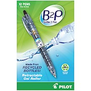 "Pilot ""Bottle to Pen"" B2P Retractable Gel Pens, Fine Point, 0.7 mm, 89% Recycled 12  - Dozen THUMBNAIL"
