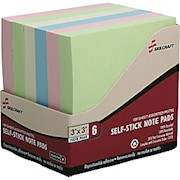 3in x 3in 30% Recycled Self-Stick Notes, Assorted Pastel Colors, Pack Of 6 (AbilityOne - Pack Of 6 THUMBNAIL