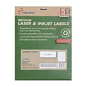 SKILCRAFT 100% Recycled White Inkjet/Laser Address Labels, 1in x 2 5/8in, Box Of - Pack Of 12 THUMBNAIL