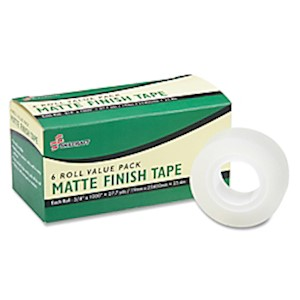 SKILCRAFT Matte Finish Transparent Tape, 3/4in x 1,000in, (AbilityOne) - Pack Of 12 MAIN