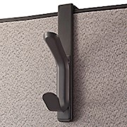 Office Depot Brand Cubicle Coat Hook, 1 3/10inH x 4 7/10inW x 7 7/8inD, Charcoal - 1 Each THUMBNAIL