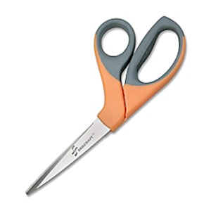 SKILCRAFT Bent Stainless Steel Shears, 8 3/10in, Black/orange - 1 Each MAIN