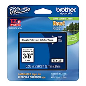 Brother TZe-221 Black-On-White Tape, 0.38in x 26.2ft - 1 Each MAIN