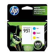 HP 951 Cyan/Magenta/Yellow Original Ink Cartridges (CR314FN) - Pack Of 3 Cartridges THUMBNAIL