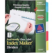 SKILCRAFT Index Maker Clear Label Dividers With Color Tabs, 5-Tab (AbilityOne ) - Set Of 20 THUMBNAIL
