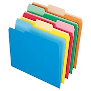 Office Depot File Folders, Letter Size, 1/3 Cut, Assorted Colors - Box Of 100 Folders THUMBNAIL