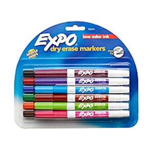 EXPO Low-Odor Dry-Erase Markers, Fine Point, Assorted Colors - Pack Of 12 MAIN