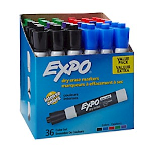 EXPO Low-Odor Dry-Erase Markers, Chisel Point, Assorted Colors - Pack Of 36 MAIN