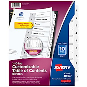 Avery Ready Index 20% Recycled Table Of Contents Dividers, 1-10 Tabs, Black/White - Set Of 10 MAIN