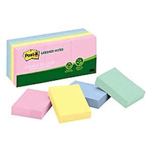 Post-it Notes Greener Notes, 1-1/2in x 2in, 100% Recycled, Helsinki - Pack Of 12 Pads MAIN