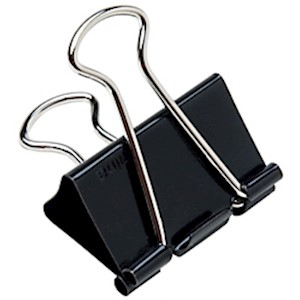 Binder Clips, 1 1/4in, 5/8in Capacity, Black/Silver, Box Of 12 (AbilityOne) 12  - Dozen MAIN