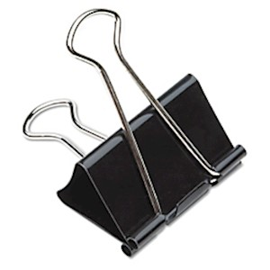 Binder Clips, 1in, Black/Silver, Box Of 12 (AbilityOne 7510-00-285-5995) - Box Of 12 MAIN