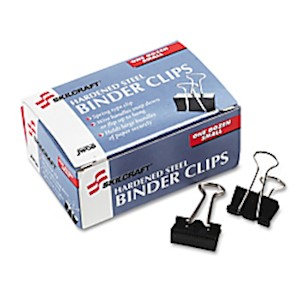Binder Clips, 1/4in, Black/Silver, Box Of 12 (AbilityOne 7510-00-282-8201) - Box Of 12 MAIN