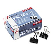 Binder Clips, 1/4in, Black/Silver, Box Of 12 (AbilityOne 7510-00-282-8201) - Box Of 12 THUMBNAIL