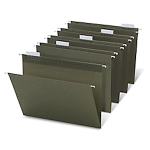 Office Depot Brand Hanging Folders, 1/5 Cut, Letter Size, 100% Recycled, Green, Pack - Box Of 25 MAIN