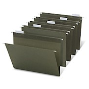 Office Depot Brand Hanging Folders, 1/5 Cut, Letter Size, 100% Recycled, Green, Pack - Box Of 25 THUMBNAIL
