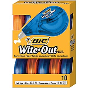 BIC Wite-Out Brand EZ Correct Correction Tape, 3/16in x 471-3/16in, White, Pack Of MAIN