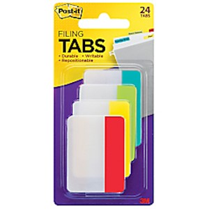 Post-it Notes Durable Filing Tabs, 2in, Assorted Colors, 24 Flags Per Pad - Pack Of 24 MAIN
