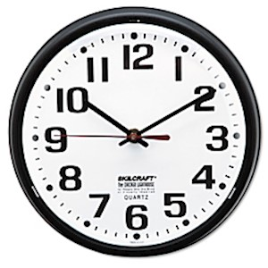 Shatterproof Crystal Dial Cover Clock, 8in Diameter, Black Frame (AbilityOne) - 1 Each MAIN