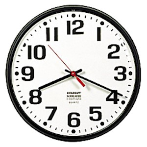 Shatterproof Crystal Dial Cover Clock, 12in Diameter, Black Frame (AbilityOne) - 1 Each MAIN