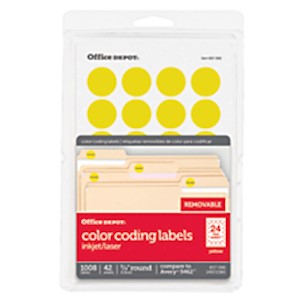 Office Depot Brand Removable Round Color-Coding Labels, OD98788, 3/4in Diameter - Pack Of 1008 MAIN