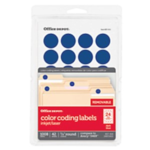 Office Depot Brand Removable Round Color-Coding Labels, OD98790, 3/4in Diameter - Pack Of 1008 MAIN