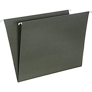 SKILCRAFT Hanging File Folders, No Tabs, 2in Expansion, Letter Size, Green, Box Of MAIN