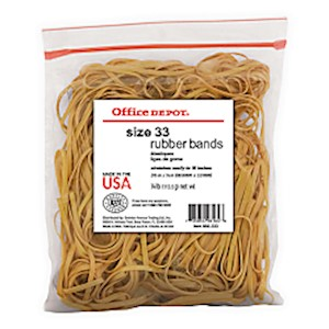 Office Depot Brand Rubber Bands, #33, 3 1/2in x 1/8in, 1/4Lb. Bag MAIN