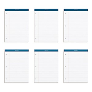 TOPS Double Docket Writing Pads, 3-Hole Punched, 8 1/2in x 11 3/4in, Legal Ruled - Pack Of 6 MAIN