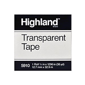 3M Highland 5910 Transparent Tape, 1/2in x 1,296in - Roll Of 1 MAIN