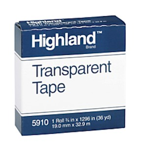 3M Highland 5910 Transparent Tape, 3/4in x 1,296in - Roll Of 1 MAIN