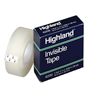 3M Highland 6200 Invisible Tape, 3/4in x 1,296in, Clear - Roll Of 1 MAIN