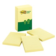 Post-it Greener Notes, 4in x 6in, Lined, Canary Yellow - Pack Of 5 Pads THUMBNAIL
