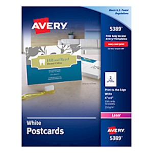 Avery Laser Post Cards, 4in x 6in, White - Box Of 100 MAIN