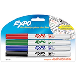 EXPO Low-Odor Dry-Erase Markers, Ultra-Fine Point, Assorted Colors - Pack Of 4 MAIN