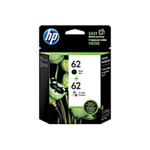 HP 62 Black/Tricolor Ink Cartridges (N9H64FN), Pack Of 2 - 1 Each MAIN