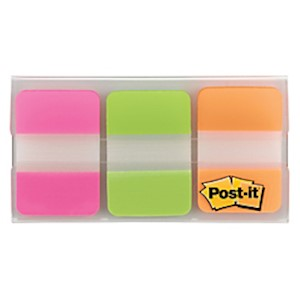 Post-it Notes Durable Filing Tabs, 1in x 1-1/2in, Green/Orange/Pink, 22 Flags Per - Pack Of 3 MAIN